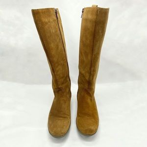 Clarks Chestnut Tan Suede Tall Boots Inside Zip